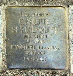 Photo of Charlotte Spiegel-Wolff brass plaque