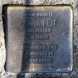 Photo of Sara Ryfka Feit brass plaque