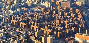 Stuyvesant Town–Peter Cooper Village - Stuyvesant Town (bottom and left) and Peter Cooper Village (top and right) as seen from the air over the East River looking northwest (2012)