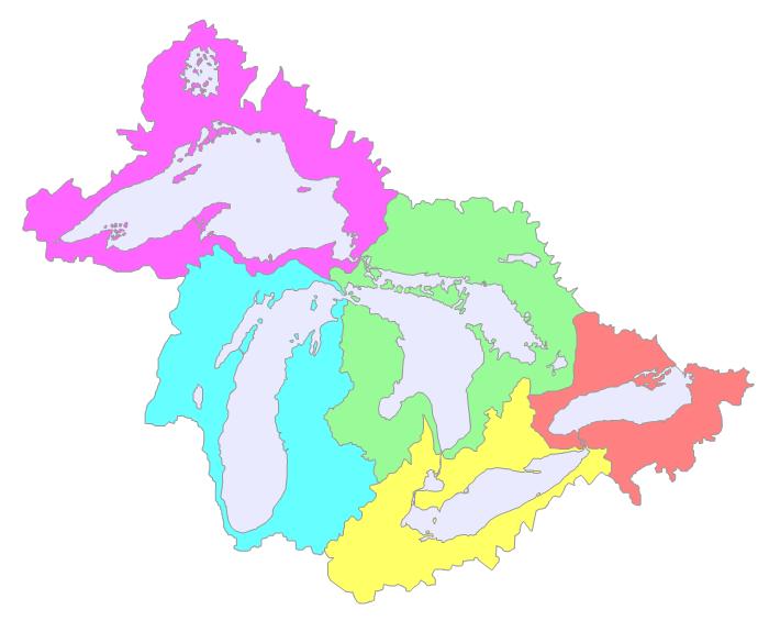 Sub-basins Great Lakes Basin