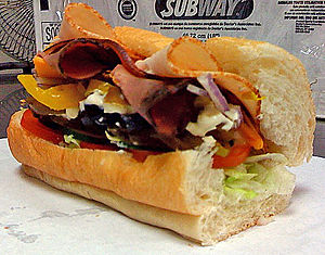 "A SUBWAY Club 6"" sandwich."