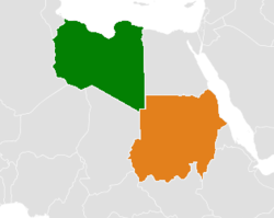 Map indicating locations of Libya and Sudan
