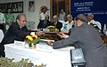 Sudheer Kumar and the Director (Comm.) NTPC, Shri R.S. Sharma are exchanging the signed documents of the Joint Venture Agreement between Railways and National Thermal Power Corporation (NTPC) for setting up Bhartiya Rail.jpg