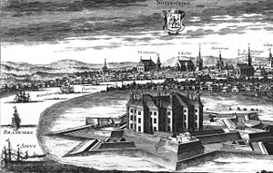 Norrköping - Norrköping depicted as a star fort before it was burnt in 1719. Contemporary engraving by Jan van den Aveelen.