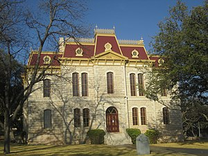 Sonora, Texas - The Sutton County Courthouse is perched on a hill overlooking Sonora.