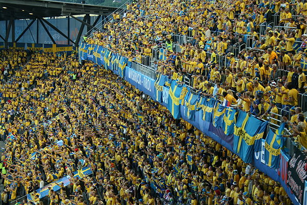 Swedish supporters during UEFA Euro 2008.