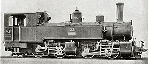 Mallet locomotive - A typical European Mallet type, a narrow gauge 0-4-4-2 tank locomotive for a mountain railway (in this case, the RhB G 2/2+2/3 in Switzerland).