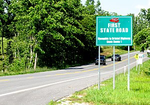 Tennessee State Route 1 - Sign marking SR 1 in Cumberland County