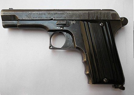 A crude Pakistani-made knockoff copy of the TT-33 Pistol. TT Pakistan.jpg