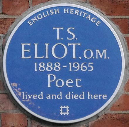 Blue plaque, 3 Kensington Court Gardens, Kensington, London, home from 1957 until his death in 1965 T S Eliot 3 Kensington Court Gardens blue plaque.jpg