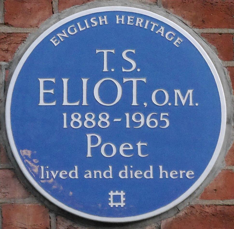 T S Eliot 3 Kensington Court Gardens blue plaque