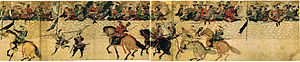"Kikuchi Takefusa - From the scroll Mōko Shūrai Ekotoba commissioned in 1293 by Takezaki Suenaga who is the rider in red armor. You can see the defensive wall at Hakata known as ""Genko Borui"". Takefusa sits on the wall with a hinomaru design fan inspecting his troops."