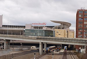 Target Field - Exterior of Target Field, including a view of the commuter platform at Target Field station.