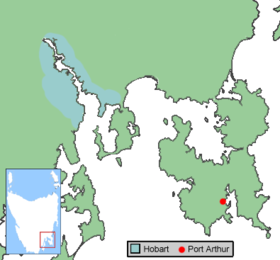 Location of Port Arthur. Tasmania, Australia