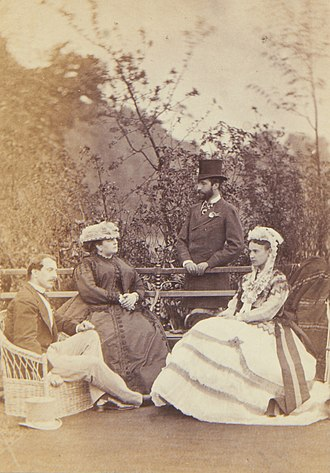 Francis, Duke of Teck - Francis, Duke of Teck, and Mary Adelaide, Duchess of Teck, with Duke Philipp and Duchess Marie Therese of Württemberg in England, around 1866