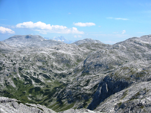 Tennen Mountains - View of the karst terrain of the Tennen Mountains looking southeast. In the background: the Hoher Dachstein