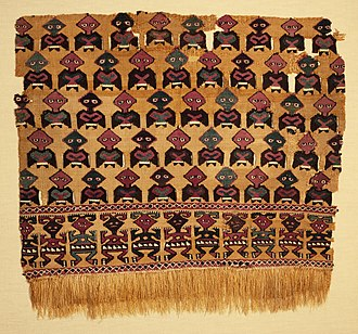Chancay culture - Textile fragment with design of stylized birds and humans