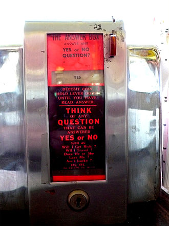 """Summit Inn - The """"Answer Box,"""" an antique coin-operated fortune-telling machine"""