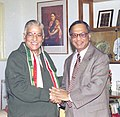 The Chairman of Board of Governors of Indian Institute of Management (IIM) Ahemedabad Shri Narayan Murthy meets the Union Minister for Human Resource Development Dr. Murli Manohar Joshi in New Delhi on January 14, 2004.jpg