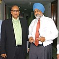The Chief Minister of Goa, Shri Digambar Kamat meeting with the Deputy Chairman, Planning Commission, Dr. Montek Singh Ahluwalia to finalize Annual Plan 2008-09 of the State, in New Delhi on March 18, 2008.jpg