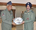 The Chief of the Air Staff, Air Chief Marshal B.S. Dhanoa presenting the IAF memento to the Commander of Royal Air Force of Oman (RAFO), Air Vice Marshal Matar Ali Matar Al-Qbaidani.jpg