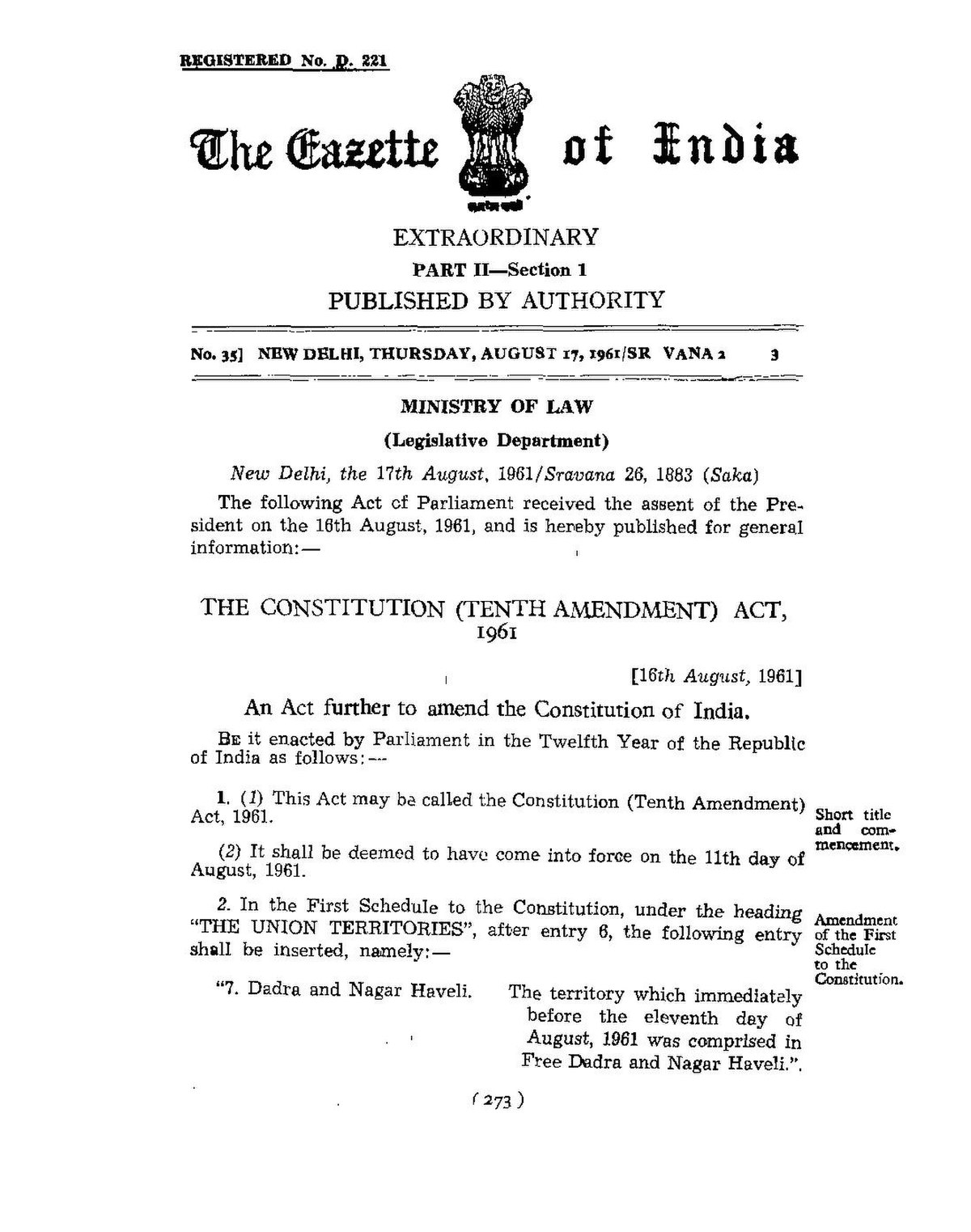 20th amendment of indian constitution