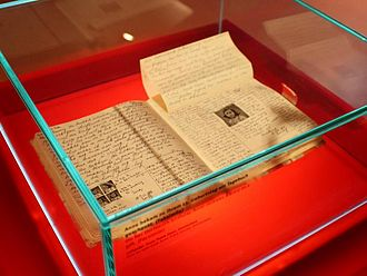 The Diary of a Young Girl - Facsimile of the diary of Anne Frank on display at the Anne Frank Zentrum in Berlin, Germany