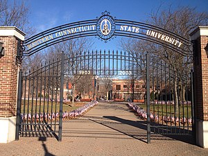 Western Connecticut State University - The entrance gates of WCSU's Midtown campus, located in downtown Danbury.