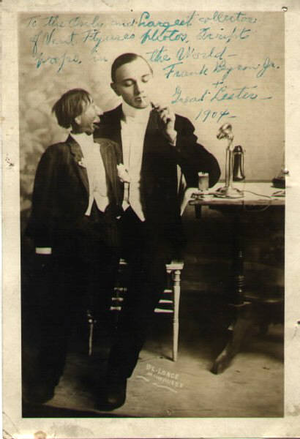 Ventriloquism - Ventriloquist The Great Lester with Frank Byron, Jr. on his knee, c. 1904