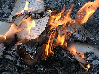 Book burning Practice of destroying, often ceremoniously, books or other written material