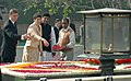 The Hungarian Prime Minister, Mr. Ferenc Gyurcsany and his wife Dr. Klara Dobrev paying floral tributes at the Samadhi of Mahatma Gandhi at Rajghat, in Delhi on January 18, 2008.jpg