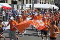 The ING bank team, Orange Heroes, with my son as a runner, right with his hand in the air - panoramio.jpg