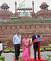The Minister of State for Defence, Dr. Subhash Ramrao Bhamre addressing the NCC cadets and school children, during the Independence Day Celebrations - 2018 rehearsal, at Red Fort, in Delhi on August 13, 2018.JPG