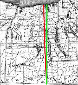 Preemption Line - A portion of a map of the State of New York, by Simon Dewitt (1804) with the old preemption line emphasized in red, and the new preemption line emphasized in green.