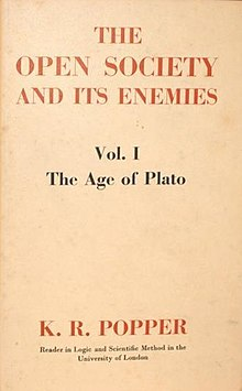 The Open Society and Its Enemies, first edition, volume one.jpg