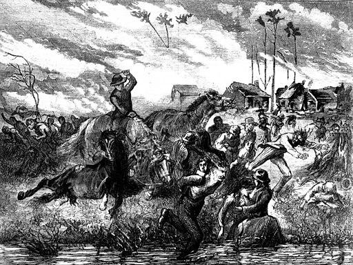 The Peshtigo Fire showing people seeking refuge in the Peshtigo River