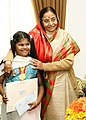The President, Smt. Pratibha Devisingh Patil greets M. Lavinashree to commend her on becoming the youngest person to pass the Microsoft Professional Certificate Course, in Chennai January 09, 2009 (1).jpg
