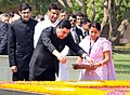 The President of Turkmenistan, Mr. Gurbanguly Berdimuhamedov paying floral tributes, at the Samadhi of Mahatma Gandhi, at Rajghat, in Delhi on May 25, 2010.jpg