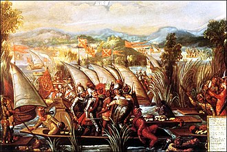 Cuauhtémoc - The capture of Cuauhtémoc. 17th century, oil on canvas.
