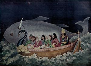 Saptarishi - Matsya (fish) rescues the Saptarishi and Manu from the great Deluge