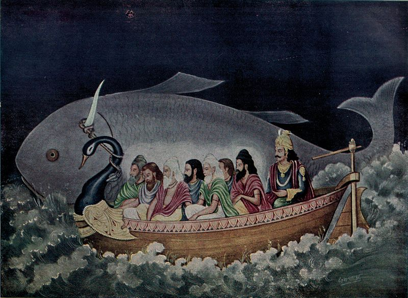 Sene Rishis,Saptha Rishis being rescued by Matsya Avatar of Vishnu.jpg