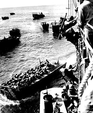 Landings at Cape Torokina - US Marines board landing craft in Empress Augusta Bay