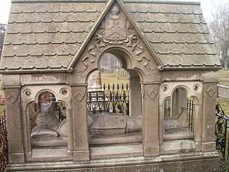 Lion Gardiner - The tomb of Lion Gardiner in East Hampton, New York was built in 1886 and designed by James Renwick, Jr. depicting him in recumbent effigy (Photo, April 2006)