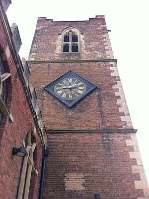 St Nicholas' Church, Nottingham - The clock installed in 1830, but thought to be the face of the clock by James Woolley of 1726 from the Nottingham Exchange