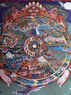 Bhavacakra - Image: The wheel of life, Trongsa dzong