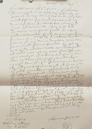 Thomas Browne - Sir Thomas Browne's will, dated 2 December 1679