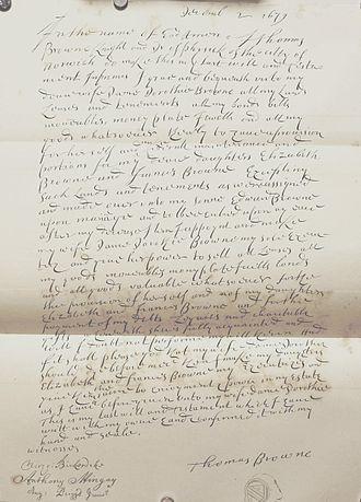 Thomas Browne - Sir Thomas Browne's will, dated 2 December 1679