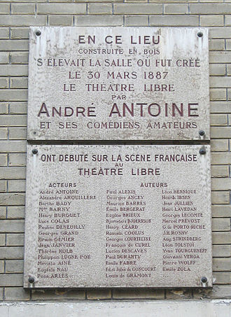 André Antoine - Plaque dedicated to the Théâtre Libre, its actor-director André Antoine, and its performers in Montmartre, Paris
