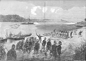 Battle of Thuận An - French sailors and marine infantry go ashore at Thuan An, 20 August 1883