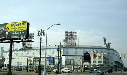 Tiger Stadium, home of the Detroit Tigers from 1912 to 1999 at the corner of Michigan and Trumbull Avenues in the Corktown district of Detroit. Tiger Stadium exterior April 2008 - Detroit Michigan.jpg